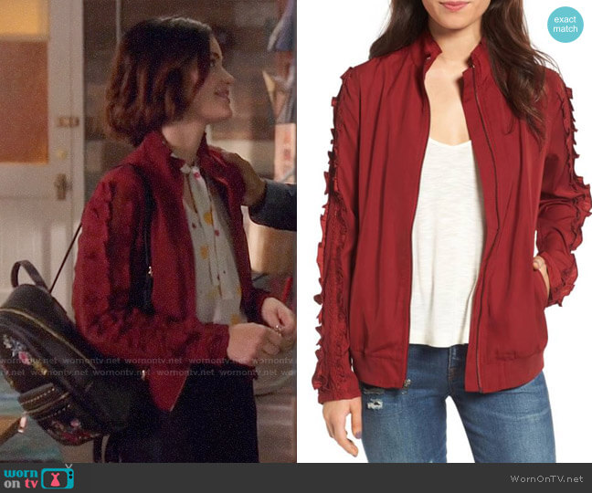 Treasure &Bond Ruffle Sleeve Bomber Jacket worn by Lucy Hale on Life Sentence