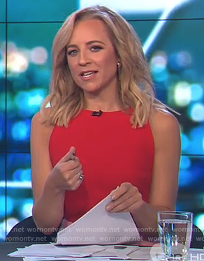 Carrie's red and pink sleeveless dress on The Project