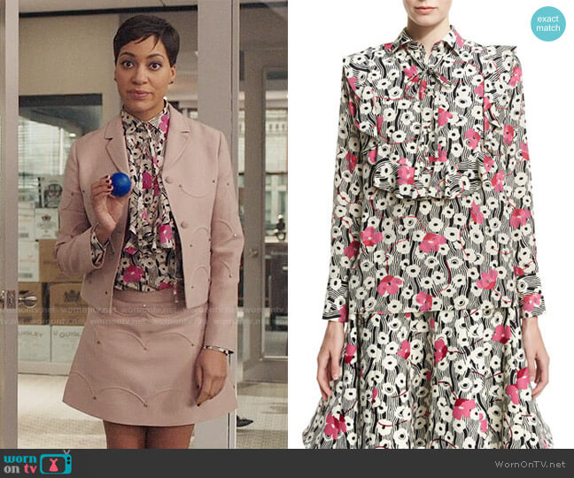 Valentino Floral Waves Tie-Neck Ruffle Blouse worn by Cush Jumbo on The Good Fight