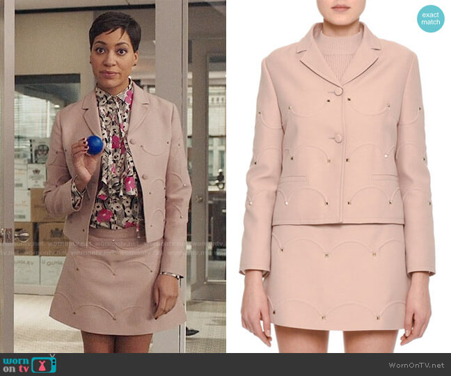 Valentino Rockstud Jacket and Skirt worn by Cush Jumbo on The Good Fight