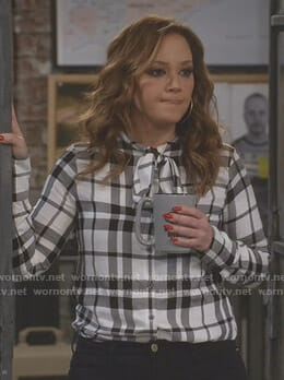 Vanessa's white plaid tie-neck blouse on Kevin Can Wait