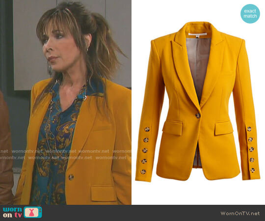 Steele Cutaway Button-Cuff Tailored Jacket by Veronica Beard worn by Lauren Koslow on Days of our Lives