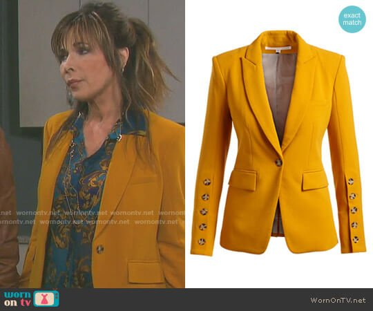 Steele Cutaway Button-Cuff Tailored Jacket by Veronica Beard worn by Kate Roberts (Lauren Koslow) on Days of our Lives