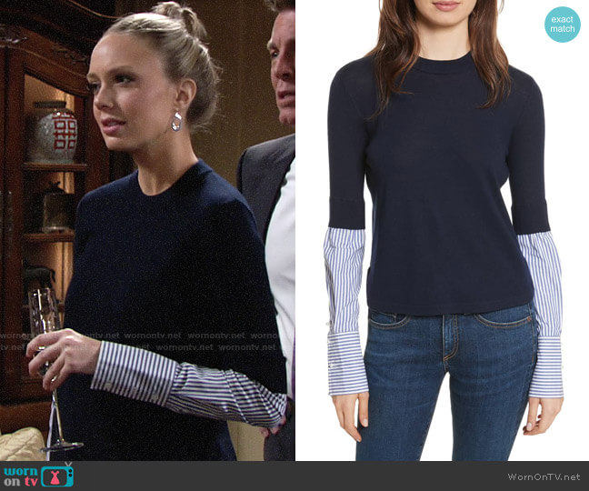 Veronica Beard Roscoe Sweater worn by Abby Newman (Melissa Ordway) on The Young & the Restless