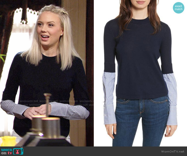 Veronica Beard Roscoe Sweater worn by Melissa Ordway on The Young & the Restless