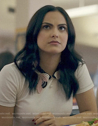 Veronica's white top with embroidered bow collar on Riverdale