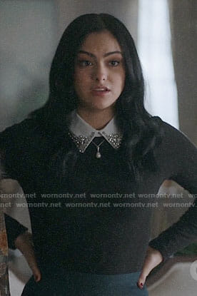 Veronica's black top with embellished collar on Riverdale