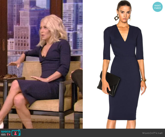 Microbrush Mid Sleeve V-Neck Fitted Dress by Victoria Beckham worn by Kelly Ripa  on Live with Kelly & Ryan