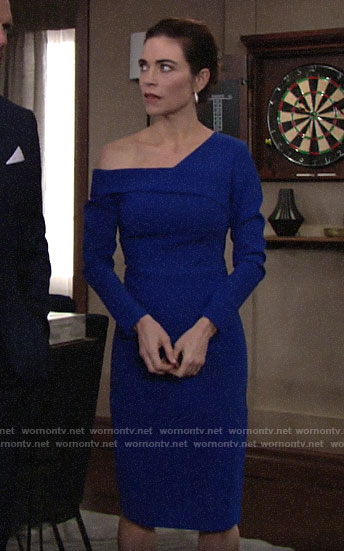 Victoria's blue long sleeved off-shoulder dress on The Young and the Restless