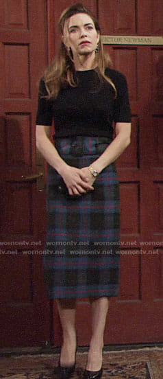 Victoria's blue plaid midi skirt on The Young and the Restless