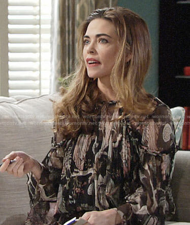 Victoria's printed blouse on The Young and the Restless