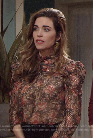Victoria's floral puff sleeve top on The Young and the Restless