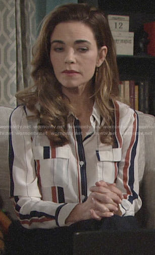 Victoria's vertical striped silk shirt on The Young and the Restless