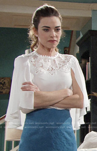 Victoria's white lace cape blouse on The Young and the Restless