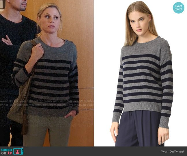 Vince Button Shoulder Stripe Cashmere Sweater worn by Julie Bowen on Modern Family