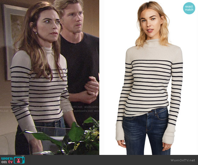 Vince Striped Roll Edge Mock Pullover worn by Amelia Heinle on The Young & the Restless