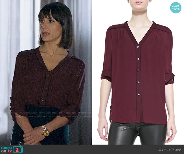 Vince Contrast Piping Blouse worn by Quinn King (Constance Zimmer) on UnReal
