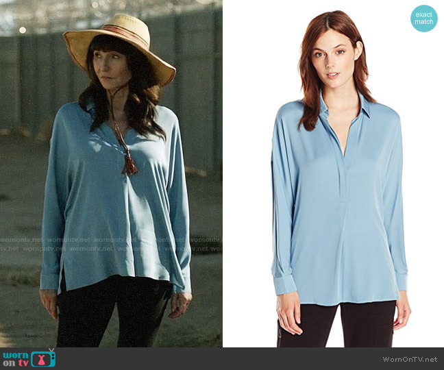Vince Long Sleeve V-neck Blouse worn by Mary Steenburgen on Last Man On Earth