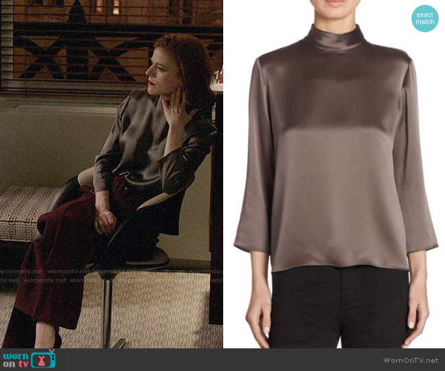 Vince Mock Neck Silk Blouse in Oil worn by Rose Leslie on The Good Fight