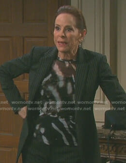 Vivian's black and white patterned top on Days of our Lives