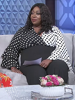 Loni's colorblock polka dot print jumpsuit on The Real