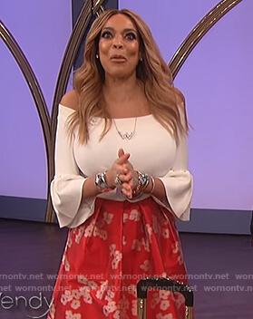 Wendy's white off shoulder bell sleeve top on The Wendy Williams Show