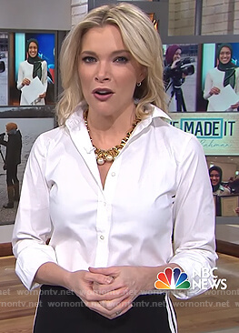 Megyn's black striped pants and pearl embellished necklace on Megyn Kelly Today