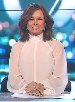Lisa's white tie cuff blouse on The Project