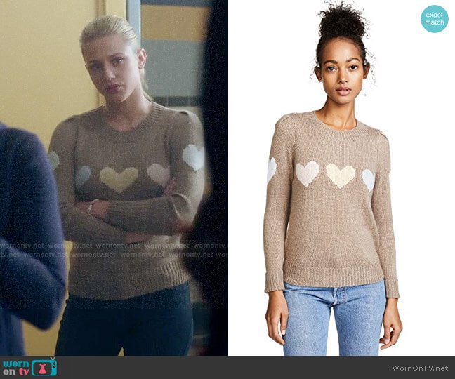 Wildfox Full Hearts Sweater worn by Lili Reinhart on Riverdale