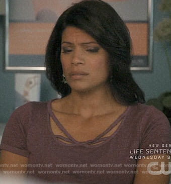 Xiomara's purple strappy tee on Jane the Virgin