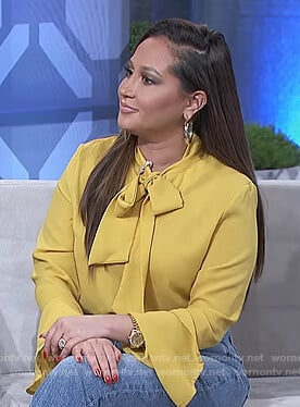Adrienne's yellow neck tie top on The Real