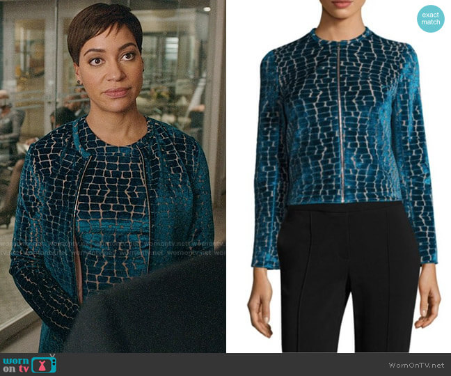 Yigal Azrouël Velvet Burnout Jacket worn by Lucca Quinn (Cush Jumbo) on The Good Fight