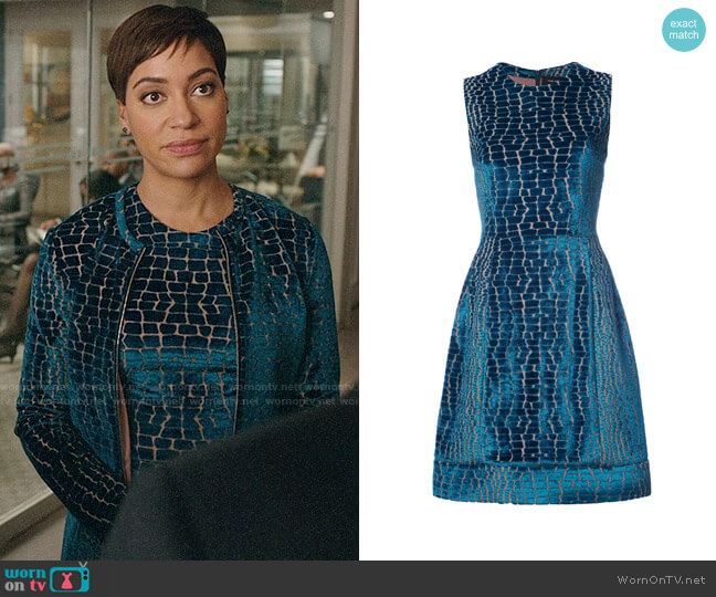 Yigal Azrouël Crocodile Effect Velvet Dress worn by Cush Jumbo on The Good Fight