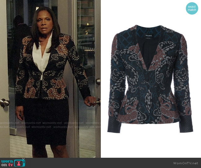 Yigal Azrouel Serpent Jacquard Jacket worn by Audra McDonald on The Good Fight