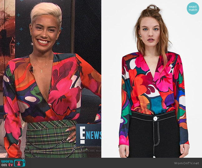 Floral Print Bodysuit by Zara worn by Sibley Scoles  on E! News