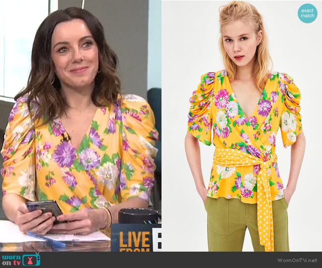 Floral Top with Polka Dots by Zara worn by Melanie Bromley on E! News