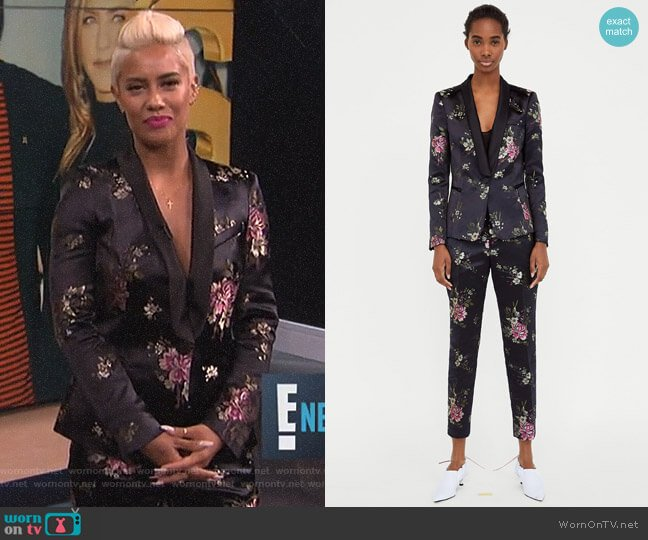 Jacquard Blazer and Trousers by Zara worn by Sibley Scoles on E! News