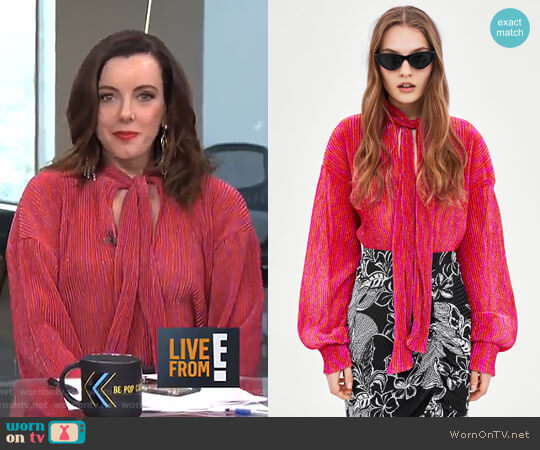 Shimmery Blouse with Bow by Zara worn by Melanie Bromley on E! News