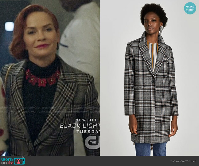 Zara Checked Coat worn by Nathalie Boltt on Riverdale
