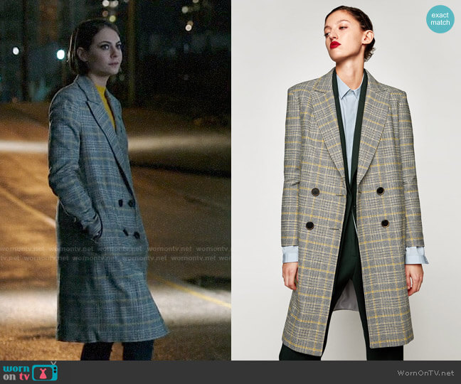 Zara Checked Coat worn by Thea Queen (Willa Holland) on Arrow