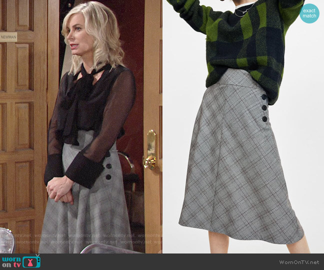 Zara Checked Midi Skirt with Buttons  worn by Ashley Abbott (Eileen Davidson) on The Young & the Restless