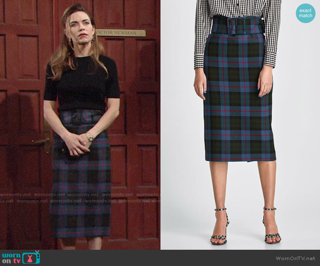 Zara Checked Skirt worn by Victoria Newman (Amelia Heinle) on The Young & the Restless