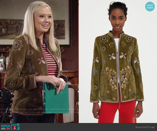 Zara Embroidered Jacket worn by Abby Newman (Melissa Ordway) on The Young & the Restless