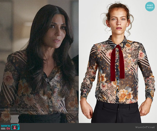 Zara Floral Patchwork Blouse worn by Marisol Nichols on Riverdale