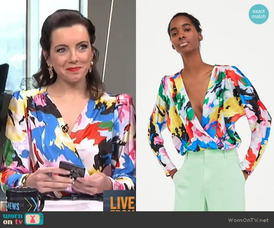 Floral Print Bodysuit by Zara worn by Melanie Bromley  on E! News