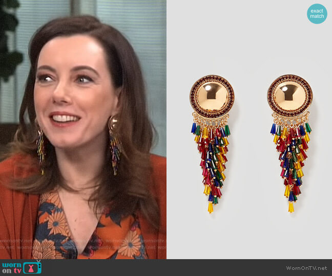 Metal and Glass Earrings by Zara worn by Melanie Bromley  on E! News
