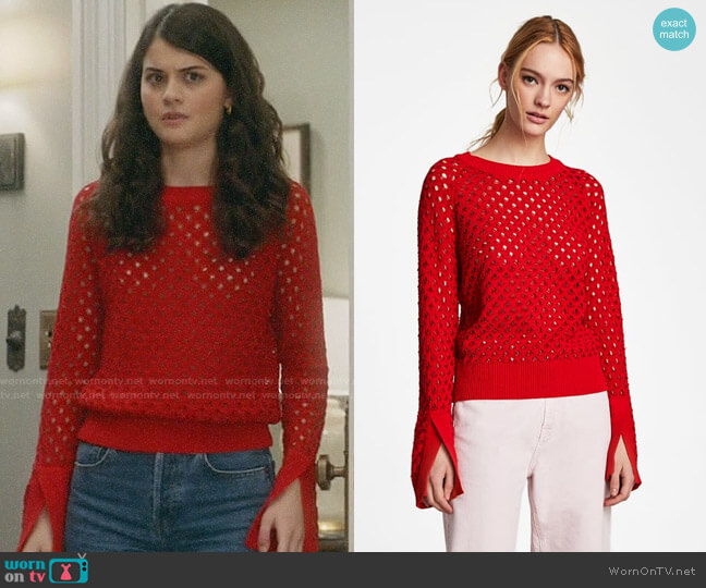 Zara Openwork Sweater worn by Sofia Black D'Elia on The Mick
