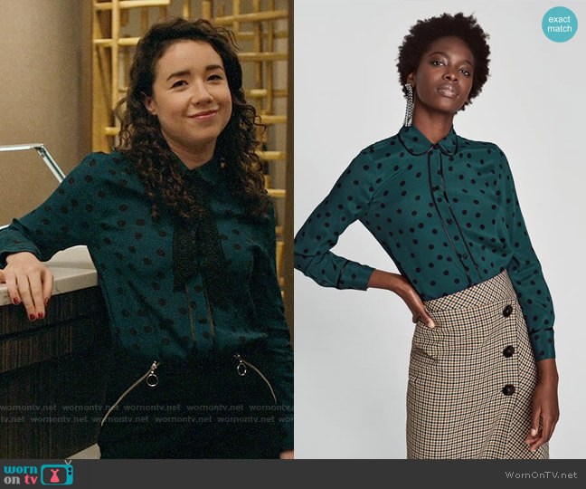 Zara Polka Dot Shirt with Contrasting Piped Seams worn by Marissa Gold (Sarah Steele) on The Good Fight