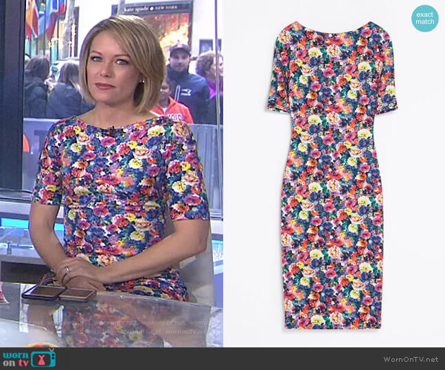 Floral Printed Dress by Zara worn by Dylan Dreyer on Today