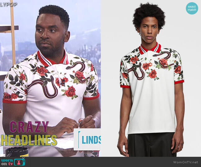 Printed Polo Shirt by Zara worn by Justin Sylvester  on E! News